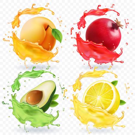 Vruchten in realistische splash vector set Stock Illustratie