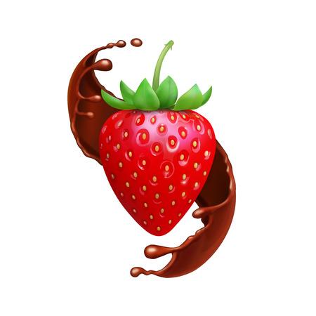 Strawberry in chocolate liquid splash realistic illustration
