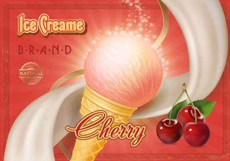 Vector cherry ice cream in a cone. Advertising poster.