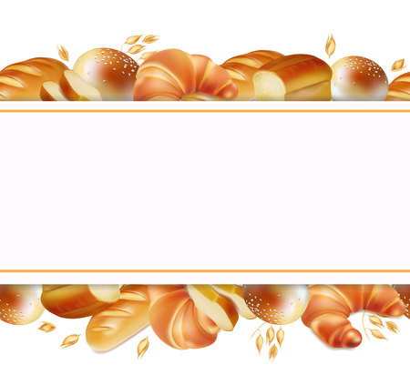 Bakery products banner horizontal Realistic border or header.