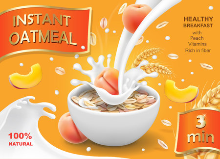 Oatmeal instant flakes with peach in a bowl with milk splash. Advertising design vector