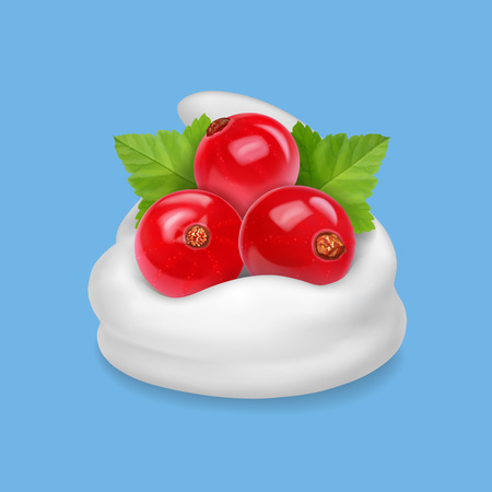 Redcurrant in yogurt or ice cream realistic icon illustration Illustration