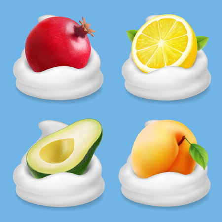 Fruits in yogurt set. Grapefruit, lemon, avocado, apricot vector realistic collection icon. Illustration