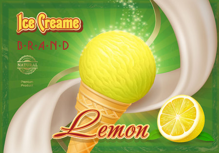 Lemon yellow ice cream in the cone advertising package design. Ilustrace