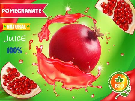Pomegranate juice package design, garnet fruit in red juice splash ads, 3d illustration