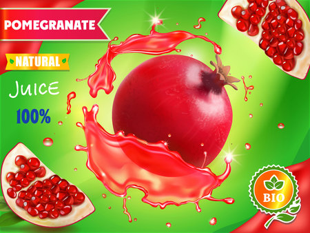 Pomegranate juice package design, garnet fruit in red juice splash ads, 3d illustration