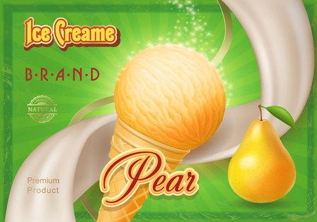 Ice cream ads, a cone of pear ice cream vintage Illustration