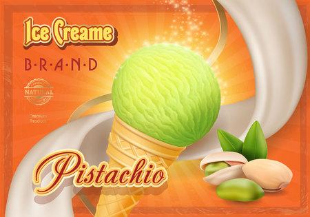 Pistachio nuts ice cream in waffle cone advertising design poster Illustration