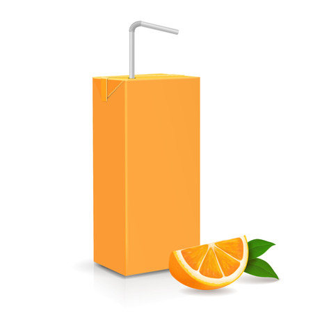 Fresh ripe orange and Juice carton package with tube. Vector illustration Ilustracja