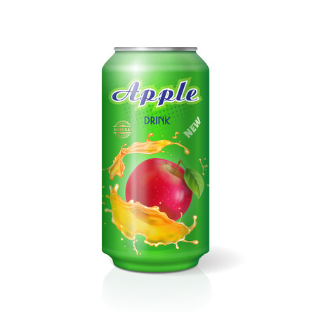 Apple juice in aluminium can realistic. Vector illustration. Package design for advertising.