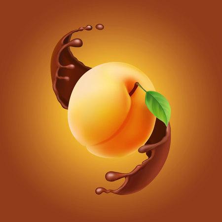 Ripe Fuit yellow ripe apricot, splash of brown chocolate Illustration