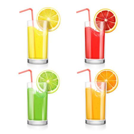 Set of fruit juice cocktails in a glass. Orange, lemon, grapefruit and lime.