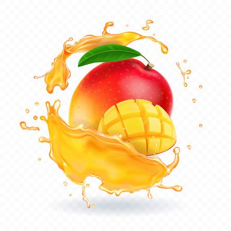 Una spruzzata di succo di mango e fette di mango maturo. Illustrazione realistica di vettore Vettoriali