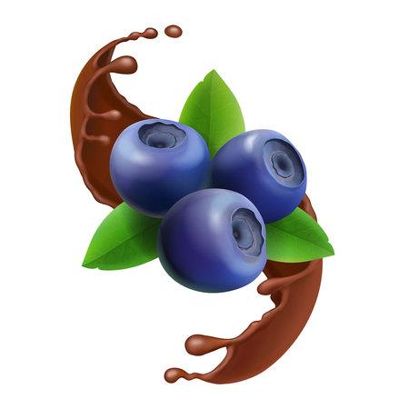 Blueberry in chocolate splash 3d icon berry illustration  イラスト・ベクター素材