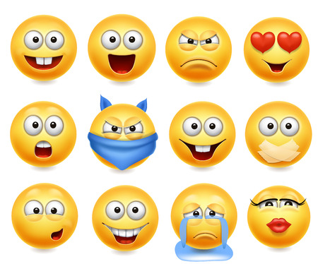 Emoticon set vettoriale. Faccine con espressioni facciali. Grido felice, amorevole e confuso.