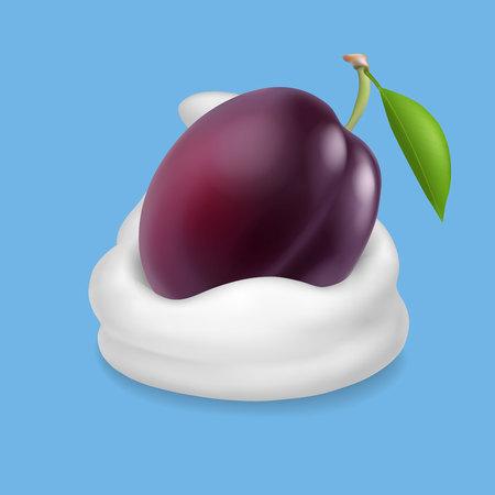 Purple plum in yogurt, ice cream or whipped cream Vector illustration.