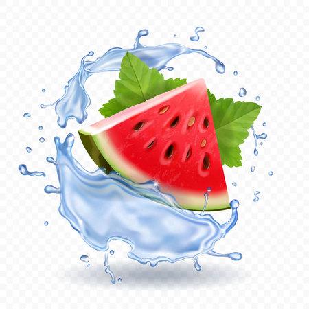 Watermelon in water splash realistic fruit icon