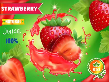 Strawberry juice advertising. Sweet berries juice package design Ilustracja