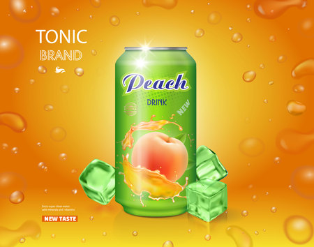 Peach juice can advertising. Realistic package design