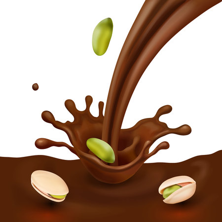 Pistachio realistic nuts in chocolate flow design package design for advertising.  イラスト・ベクター素材