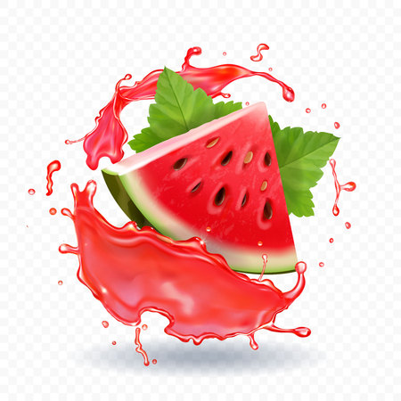 Watermelon juice vector realistic illustration