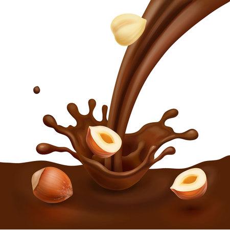 Hazelnut with liquid chocolate design for advertising