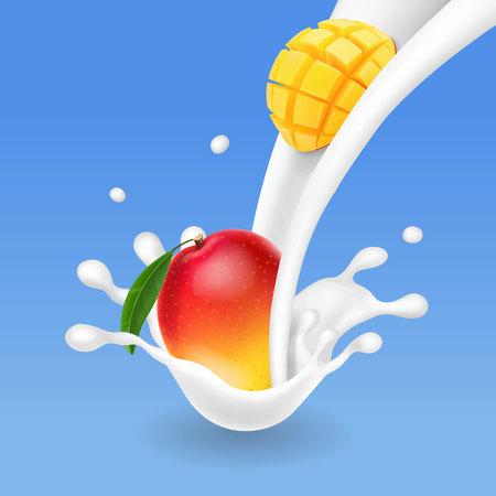 Mango fruit in milk flow or yogurt splash realistic illustration
