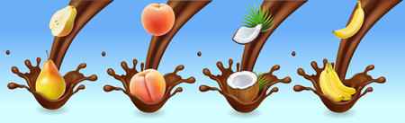 Fruit banana peach, pear and coconut in chocolate splash icon set