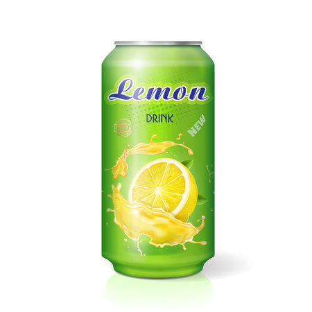 Lemon drink contained in metallic can realistic lemon juice package. Lemonade tin