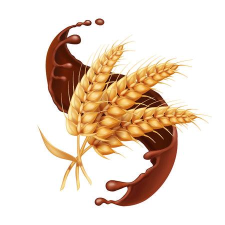 Barley or wheat ear in chocolate splash vector icon