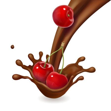 Cherry fruit in melted chocolate splash isolated Illustration