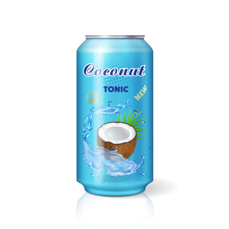 Packaging can with coconut water drink 3d vector