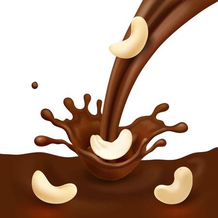 Chocolate splash and cashew nut realistic 3d illustration