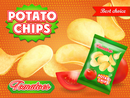 Potato chips ads with tomatoes Advertising illustration