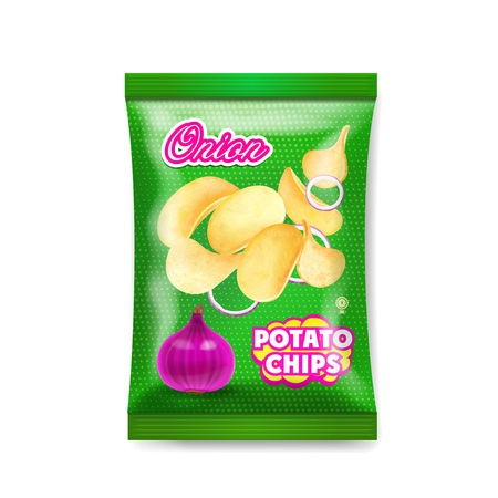 Potato chips onion package ads isolated illustration.