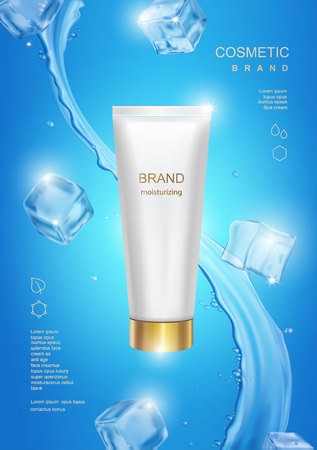 Realistic cosmetic tube Blue background with water drops and ice cubes Cosmetic mockup design. Vector illustration Ilustracja
