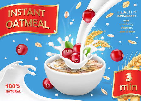 Oat flakes with cranberry, oatmeal advertising Ilustracja