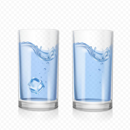 Glass with water and ice cube Illustration