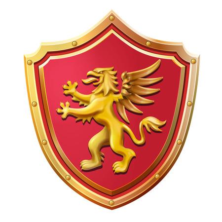 Royal emblem red shield gold griffin vector illustration