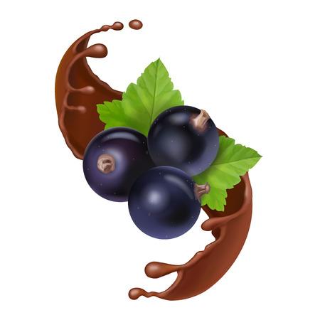 Black currant in chocolate splash. Berries in liquid chocolate