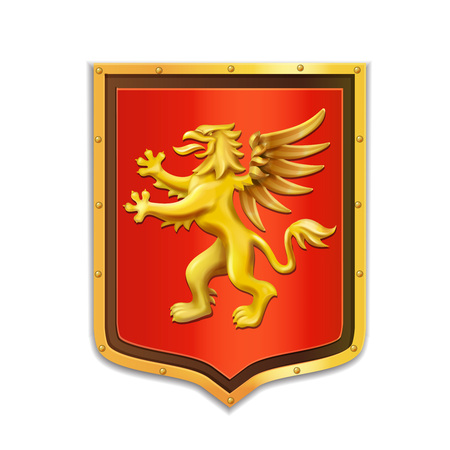 Griffin heraldry. Coat of arms. Golden shield