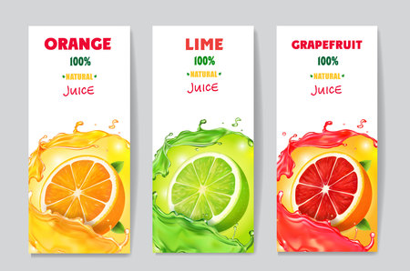 Banners with citrus fruit juice and splashes. Grapefruit, lime and orange drink package design