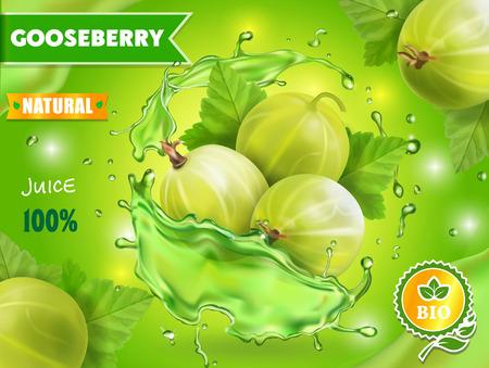 Gooseberry juice advertising Berry in juice splash label, packaging design Фото со стока - 104538382
