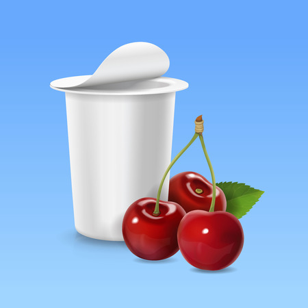 Cherry realistic icon and packing yogurt container.