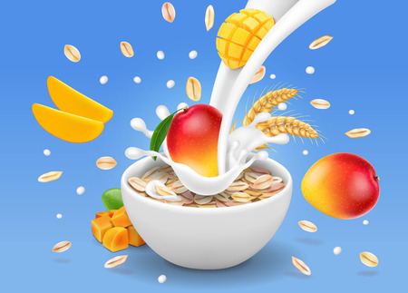 Instant oatmeal mango advertising. Milk flowing into a bowl with grain.