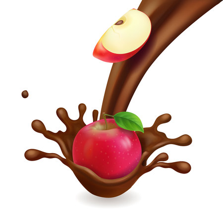 Apple realistic in chocolate 3d vector icon