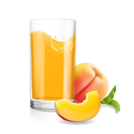 Peach juice in drinking glass. Tropical fruit fresh drink realistic vector illustration