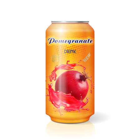 Pomegranate fruits juice drink tin can realistic Vectores