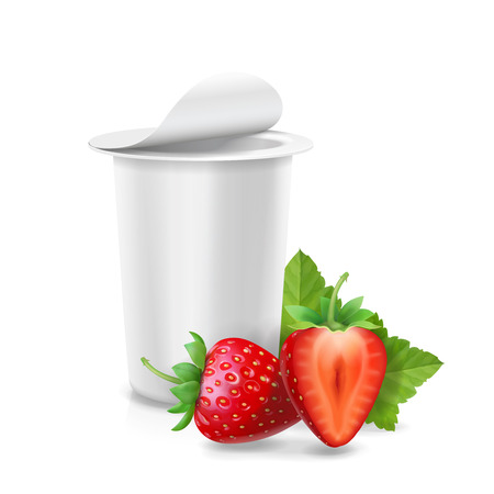 Packing yogurt box, yogurt container with strawberr. Banque d'images - 112273557