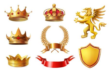 Conjunto de coronas de rey de oro real, coronas de laurel y colección de premios de cinta Ilustración de vector